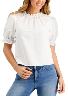 Charter Club Petite Cropped Ruffled Top, Created for Macy's