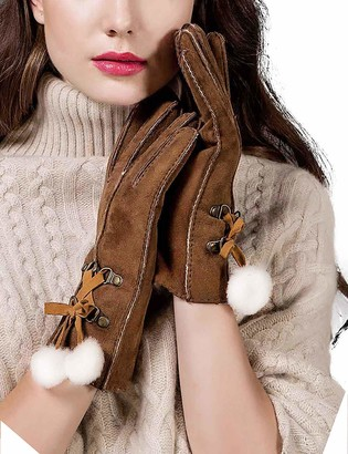 YISEVEN Women Merino Rugged Lambskin Shearling Leather Gloves Three Points Soft Furry Cuffs Warm Lined for Winter Dress Driving Work gift