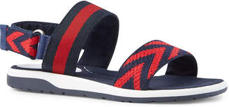 Gucci Chevron Leather Sandals, Blue/Red, Kids