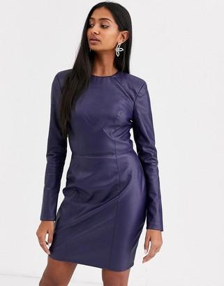 Asos Design DESIGN leather look long sleeve mini dress-Navy