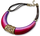 Style&Co. Necklace, Gold Tone Fuchsia Frontal Statement Necklace