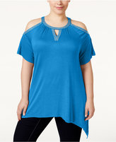 INC International Concepts Plus Size Cold-Shoulder Top, Only at Macy's