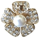 Chanel Crystal and Pearl Flower Brooch