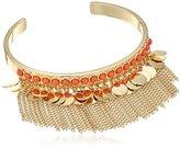 BCBGeneration Coral-Hued Fringe Cuff Bracelet