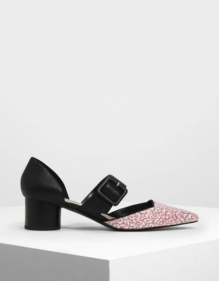 Charles & Keith Glitter Mary Janes Buckle Pumps