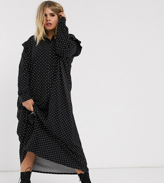 ASOS DESIGN Curve long sleeve mono spot shirt maxi dress