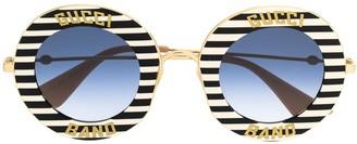 Gucci Striped Circle Frame Sunglasses