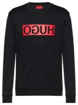 HUGO Regular-fit sweatshirt with reverse-logo print