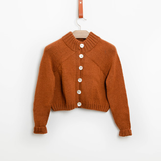 Bunti - The Carmellia Hand Knitted Wool & Organic Cotton Cardigan in Chestnut - S/M | wool | chestnut - Chestnut