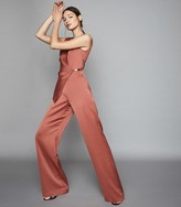 Reiss Vita - Satin Wrap Front Jumpsuit in Rust