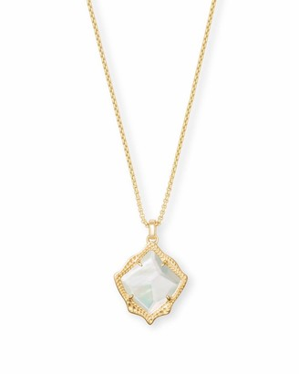 Kendra Scott Kacey Gold Long Pendant Necklace in Ivory Pearl