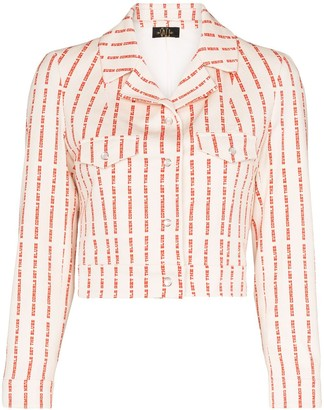 De La Vali Even Cowgirls striped text jacket