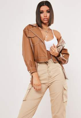 Missguided Tan Faux Leather Contrast Stitch Biker Jacket