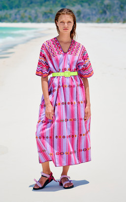 Pippa Three Panel Midi Pink Stripe Kaftan