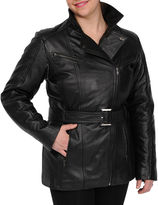 JCPenney Excelled Leather Excelled Belted Jacket