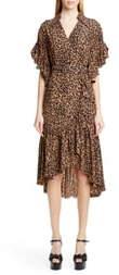 Michael Kors Collection Belted Animal Print Silk Crepe Wrap Dress