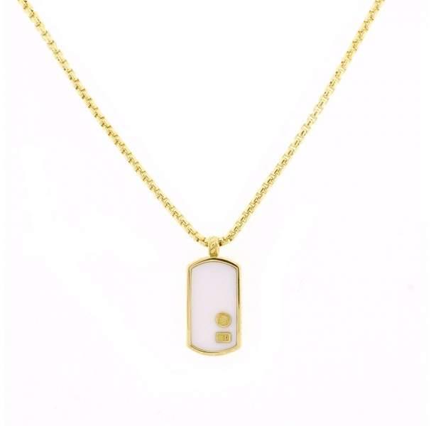 David Yurman 18K Yellow Gold White Onyx Exotic Stone Gold Tag Pendant Necklace