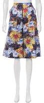 Suno Floral Print A-Line Skirt