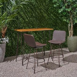 17 Stories Dasher Outdoor Acacia Wood and Iron 3-Piece Bar Set