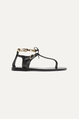 Ancient Greek Sandals Asimina Embellished Leather Sandals - Black