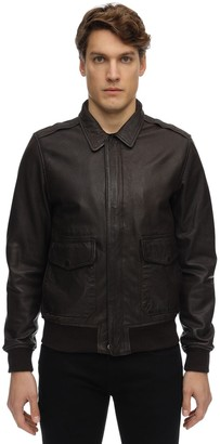 Schott Zip-up Washed Leather Jacket