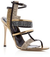 Sergio Rossi Tamara Metallic Embellished High Heel Sandals