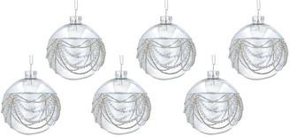 Gisela Graham - Draped Diamante Bauble - Set of 6 - Clear