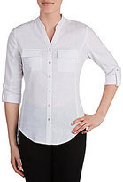 Allison Daley Button Front Roll-Tab Sleeve Shirt
