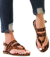 Mata Shoes Women's Sandals LEOPARD - Leopard Strappy Roman Thong Sandal - Women