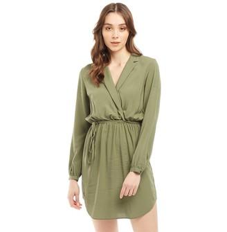 Jack Wills Womens Hedley Wrap Shirt Dress Khaki