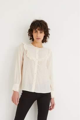 Oliver Bonas Womens Spot Print Ruffle Long Sleeve Top - White