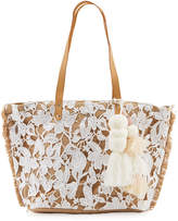 Capelli of New York Straworld Straw Tote Bag w/ Lace Overlay