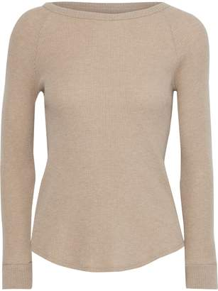 Enza Costa Melange Waffle-knit Cotton And Cashmere-blend Top