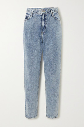 GRLFRND Teagan Pleated High-rise Straight-leg Jeans - Light denim