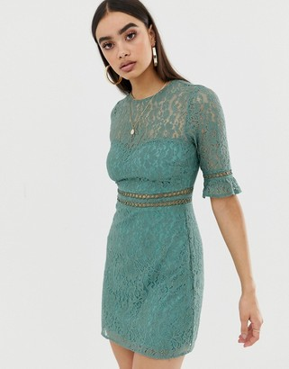 Fashion Union lace mini dress-Green