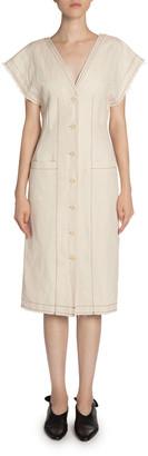 Proenza Schouler White Label Cotton/Linen Short-Sleeve Button-Front Dress
