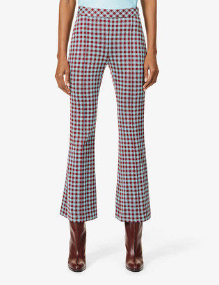 Rosetta Getty Gingham flared mid-rise stretch-woven trousers