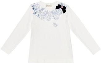 MonnaLisa Embellished floral cotton top