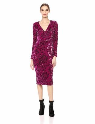 Dress the Population Women's Elizabeth Plunging Sequin Midi Long Sleeve Sheath Dress