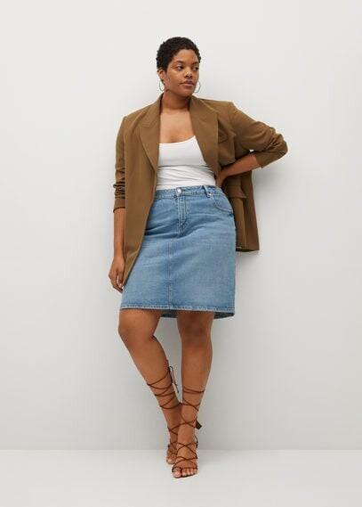 MANGO Short denim skirt