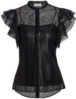 Akris Punto Lacquered Lace Ruffle-Sleeve Blouse