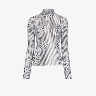 Marine Serre Lizard Print Turtleneck Top