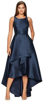 Adrianna Papell Mikado High-Low Gown (Midnight) Women's Dress