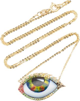 Lito 14K Yellow Gold, Ruby, Tsavorite, and Diamond Eye Necklace