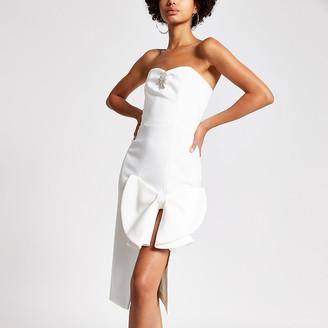 River Island White bow front embellished bandeau dress