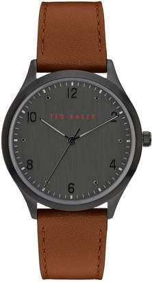 Ted Baker Manhatt Gunmetal-Tone Stainless Steel Leather-Strap Watch
