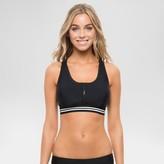 Vanilla Beach Sport Women's High Neck Zip-Front Racerback Bikini Swim Top - Black