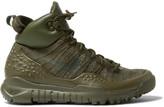 Nike Lupinek Leather-Trimmed Flyknit High-Top Sneakers