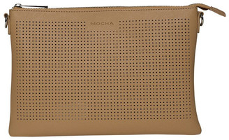 Mocha Elva Perforated Double Crossbody - Tan