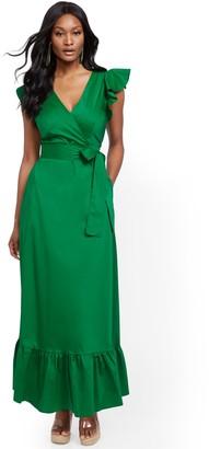 New York & Co. Green Ruffle-Sleeve Poplin Maxi Dress